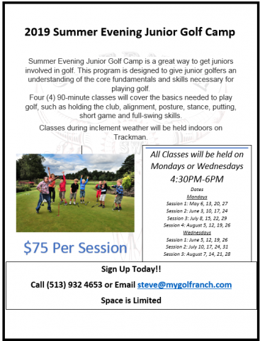 Monday Wednesday Summer Evenings Jr Camp