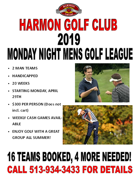 There are openings for the Monday Night Men's League.  Join us!
